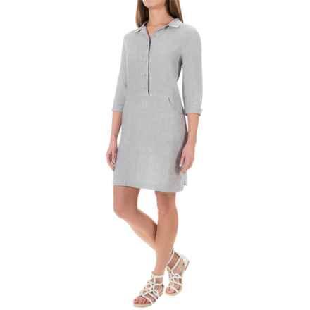 Kenar Linen Cross-Dye Shirt Dress - 3/4 Sleeve (For Women) in Grey - Overstock