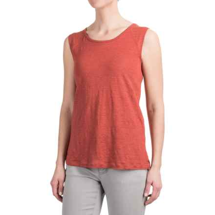 Kenar Linen Muscle Shirt with Shoulder Yokes - Sleeveless (For Women) in Clay Pot - Closeouts