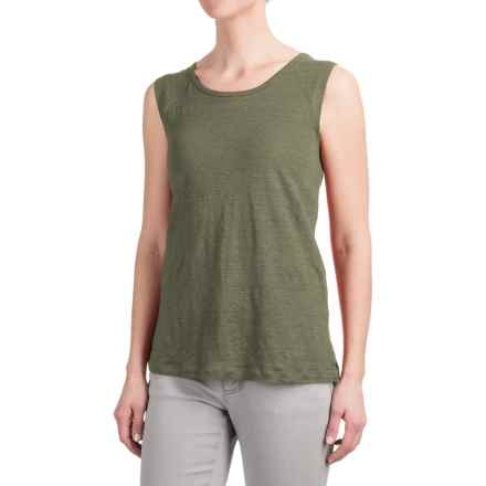 Kenar Linen Muscle Shirt with Shoulder Yokes - Sleeveless (For Women) in Emerald Forest - Closeouts