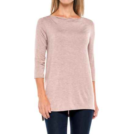 Kenar Modal Boat Neck Tunic Shirt - 3/4 Sleeve (For Women) in Rose Quartz Heather - Closeouts