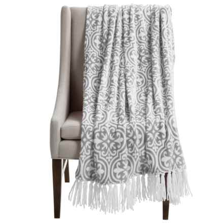 "Kendrick Chenille Fleece Throw Blanket - 50x70"" in Silver - Closeouts"