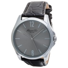 Kenneth Cole Classic Dress Watch - Croc-Embossed Strap (For Men) in Grey/Brown - Closeouts