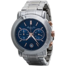 Kenneth Cole Dress Sport Dual Sub-Eye Chronograph Watch - Mother-of-Pearl Dial (For Women) in Blue/Silver - Closeouts