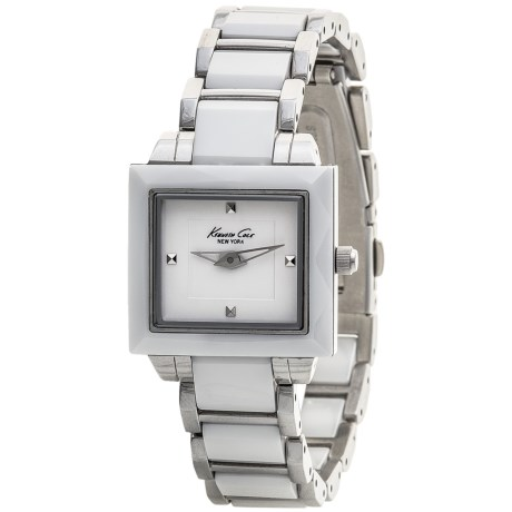 Kenneth Cole New York Ceramic Watch - Stainless Steel Band (For Women) in White/Silver