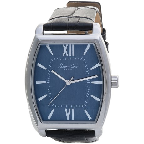 Kenneth Cole New York Colored Watch - Croc-Embossed Leather Band (For Men) in Blue/Blue