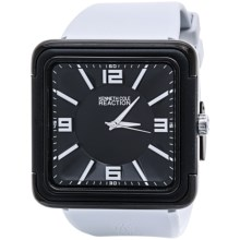Kenneth Cole Reaction Casual Square-Faced Watch - Rubber Band (For Men and Women) in Black/White - Closeouts