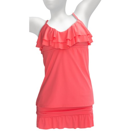 Kenneth Cole Reaction Ruffle-Licious Tankini (For Women) in Coral