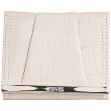 Kenneth Cole Reaction Tri-Fold Wallet - Leather (For Women) in Croco Seastone - Closeouts