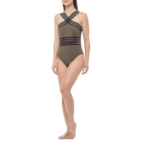 c1375b1709b Kenneth Cole Stompin' in Stilettos High Neck One-Piece Swimsuit (For  Women). Tap to expand