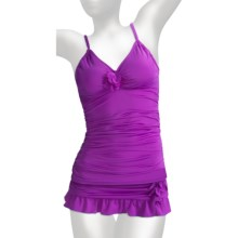 Kenneth Cole Tankini Swimsuit - Ruched Skirt For Women) in Purple - Closeouts