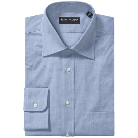 Kenneth Gordon 2-Ply Pinpoint Dress Shirt - Long Sleeve (For Men) in Blue