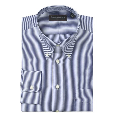 Kenneth Gordon Bengal Stripe Dress Shirt - Long Sleeve (For Men) in Navy/White Sripe
