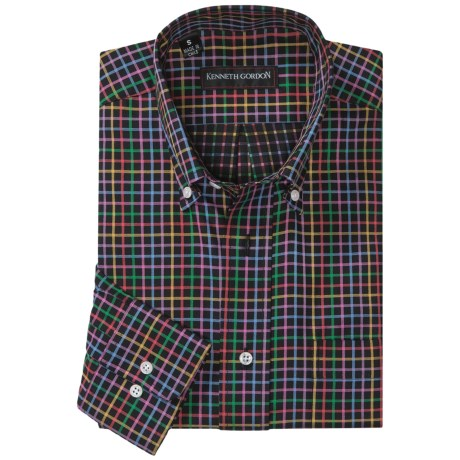 Kenneth Gordon Check Sport Shirt - Button-Down Collar (For Men) in Black Multi Check