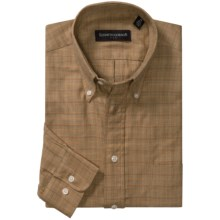 Kenneth Gordon Check Sport Shirt - Button-Down Collar (For Men) in Gold/Tan/Black Checks - Closeouts