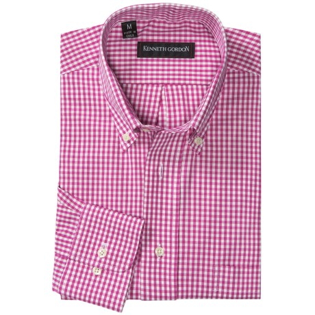 Kenneth Gordon Check Sport Shirt - Button-Down Collar (For Men) in Pink/White Check