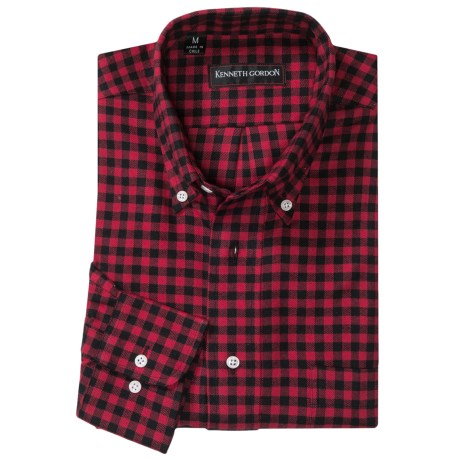 Kenneth Gordon Check Sport Shirt - Button-Down Collar (For Men) in Red/Black Plaid