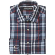 Kenneth Gordon Check Sport Shirt - Point Collar, Long Sleeve (For Men) in Navy/Red/White Multi - Closeouts