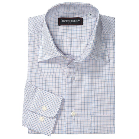Kenneth Gordon Check Sport Shirt - Spread Collar, Two Button Cuff, Long Sleeve (For Men) in White/Blue/Gold Mini Check
