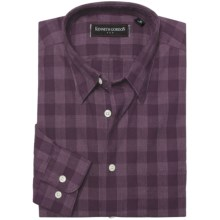 Kenneth Gordon Cotton-Linen Sport Shirt - Long Sleeve (For Men) in Purple Check - Closeouts