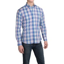 Kenneth Gordon Cotton Madras Plaid Sport Shirt - Long Sleeve (For Men) in Blue/Light Blue/Pink - Closeouts