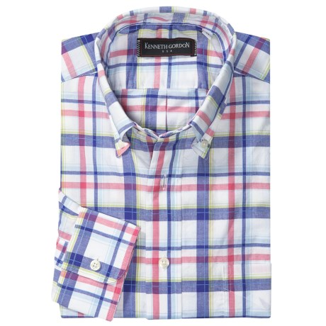 Kenneth Gordon Cotton Sport Shirt - Long Sleeve (For Men) in Blue/Red/White/Green Plaid