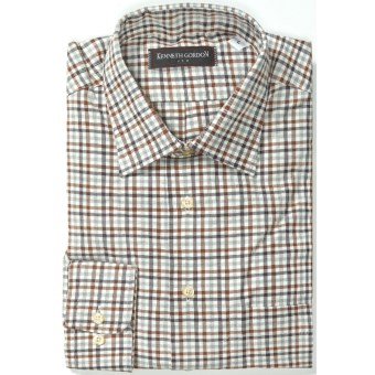 Kenneth Gordon Cotton Sport Shirt - Long Sleeve (For Men) in Natural/Brown Multi Check