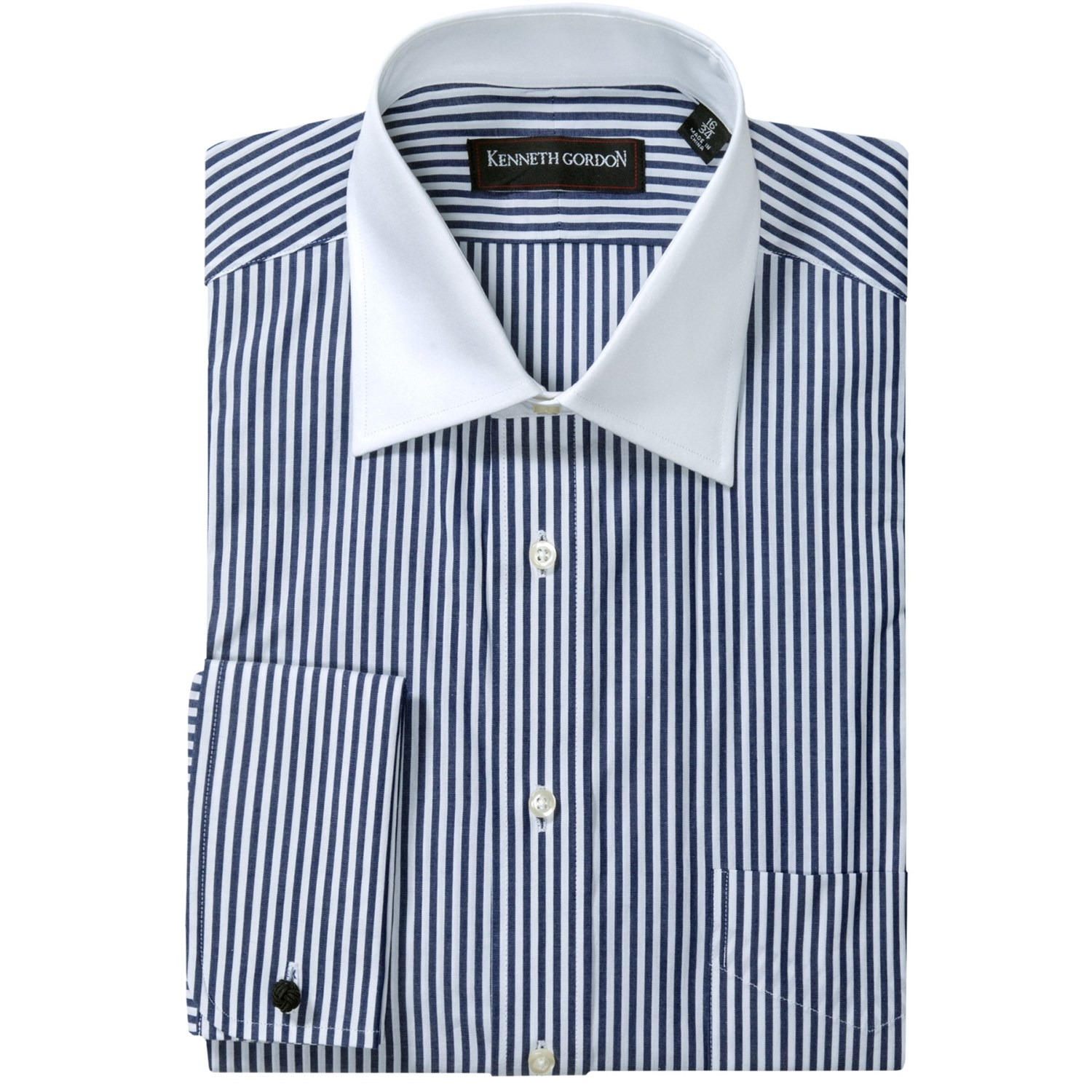 kenneth gordon french cuff dress shirt contrast buttons