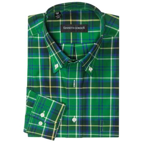 Kenneth Gordon Multi-Plaid Sport Shirt - Button-Down, Long Sleeve (For Men) in Green/Blue Plaid