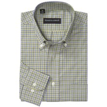 Kenneth Gordon Multi-Plaid Sport Shirt - Button-Down, Long Sleeve (For Men) in Olive/Blue Check - Closeouts