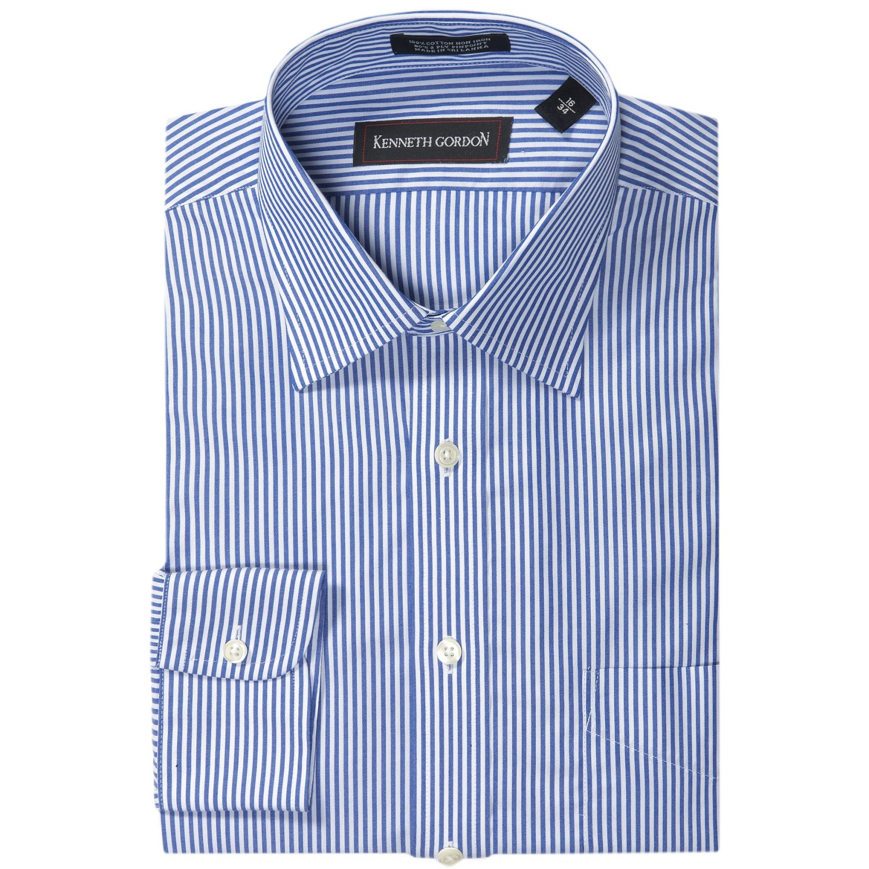 Kenneth Gordon No Iron Stripe Dress Shirt Pinpoint