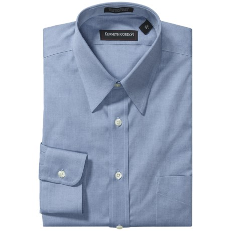 Kenneth Gordon Non-Iron Cotton Dress Shirt - Long Sleeve (For Men) in Blue