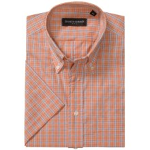 Kenneth Gordon Patterned Sport Shirt - Short Sleeve (For Men) in Orange/Light Blue/Purple Plaid - Closeouts