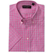 Kenneth Gordon Patterned Sport Shirt - Short Sleeve (For Men) in Pink/Lime Plaid - Closeouts