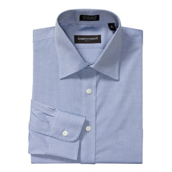 Kenneth Gordon Pinpoint Solid Dress Shirt - Cotton, Wrinkle-Free, Long Sleeve (For Men) in Blue