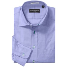 Kenneth Gordon Pinpoint Sport Shirt - Contrast Buttonholes, Long Sleeve (For Men) in Medium Blue - Closeouts