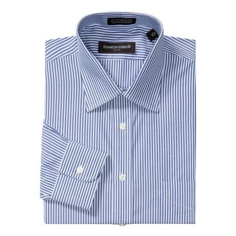 Kenneth Gordon Pinpoint Stripe Dress Shirt - Cotton, Wrinkle-Free, Long Sleeve (For Men) in White/Blue