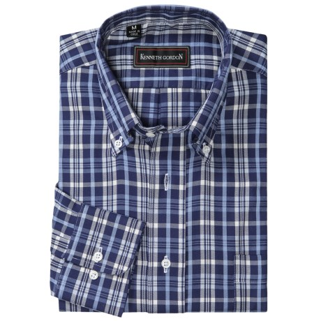 Kenneth Gordon Plaid Sport Shirt - Button-Down Collar, Long Sleeve (For Men) in Blue/White Plaid