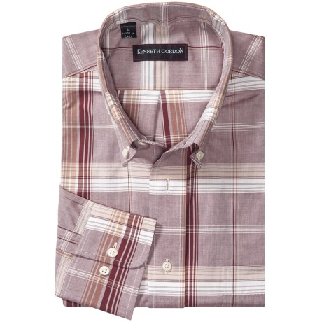 Kenneth Gordon Plaid Sport Shirt - Button-Down Collar, Long Sleeve (For Men) in Brown/Tan/White Plaid