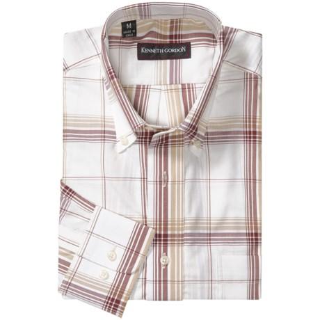Kenneth Gordon Plaid Sport Shirt - Button-Down Collar, Long Sleeve (For Men) in White/Tan/Brown Plaid