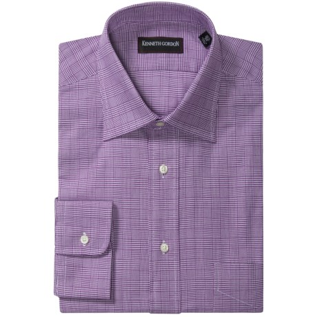 Kenneth Gordon Prince of Wales Dress Shirt - Spread Collar, Long Sleeve (For Men) in Purple