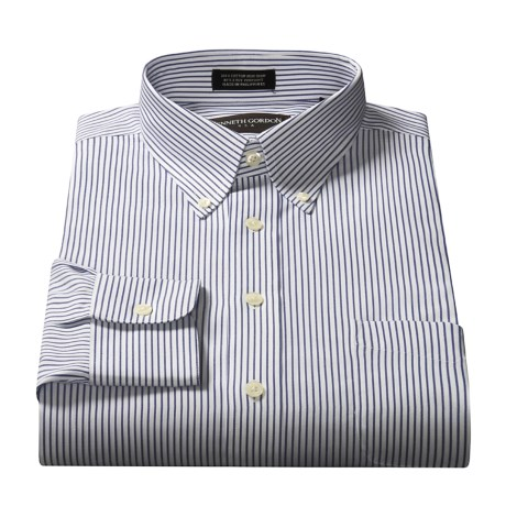 Kenneth Gordon Solid Button-Down Collar Dress Shirt - Long Sleeve (For Men) in White/Blue Stripe