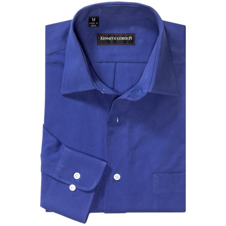 Kenneth Gordon Sport Shirt - Spread Collar, Long Sleeve (For Men) in Royal Blue
