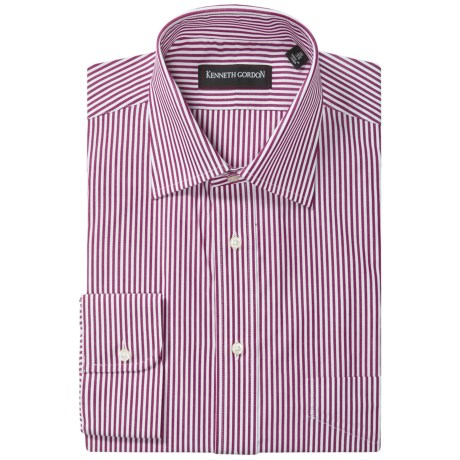 Kenneth Gordon Stripe Dress Shirt - Spread Collar, Long Sleeve (For Men) in Burgundy