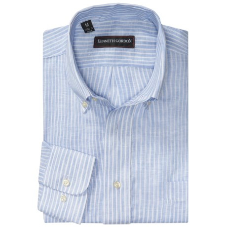 Kenneth Gordon Stripe Sport Shirt - Long Sleeve (For Men) in Baby Blue/White Stripe
