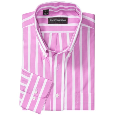 Kenneth Gordon Stripe Sport Shirt - Long Sleeve (For Men) in Pink/White Stripe