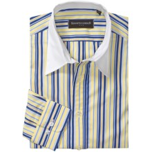 Kenneth Gordon Stripe Sport Shirt - Point Collar, Long Sleeve (For Men) in Yellow/Blue/White Collar - Closeouts