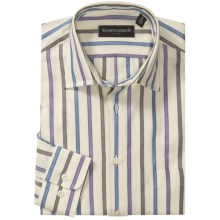 Kenneth Gordon Stripe Sport Shirt - Spread Collar, Long Sleeve (For Men) in Natural/Blue/Purple/Brown - Closeouts