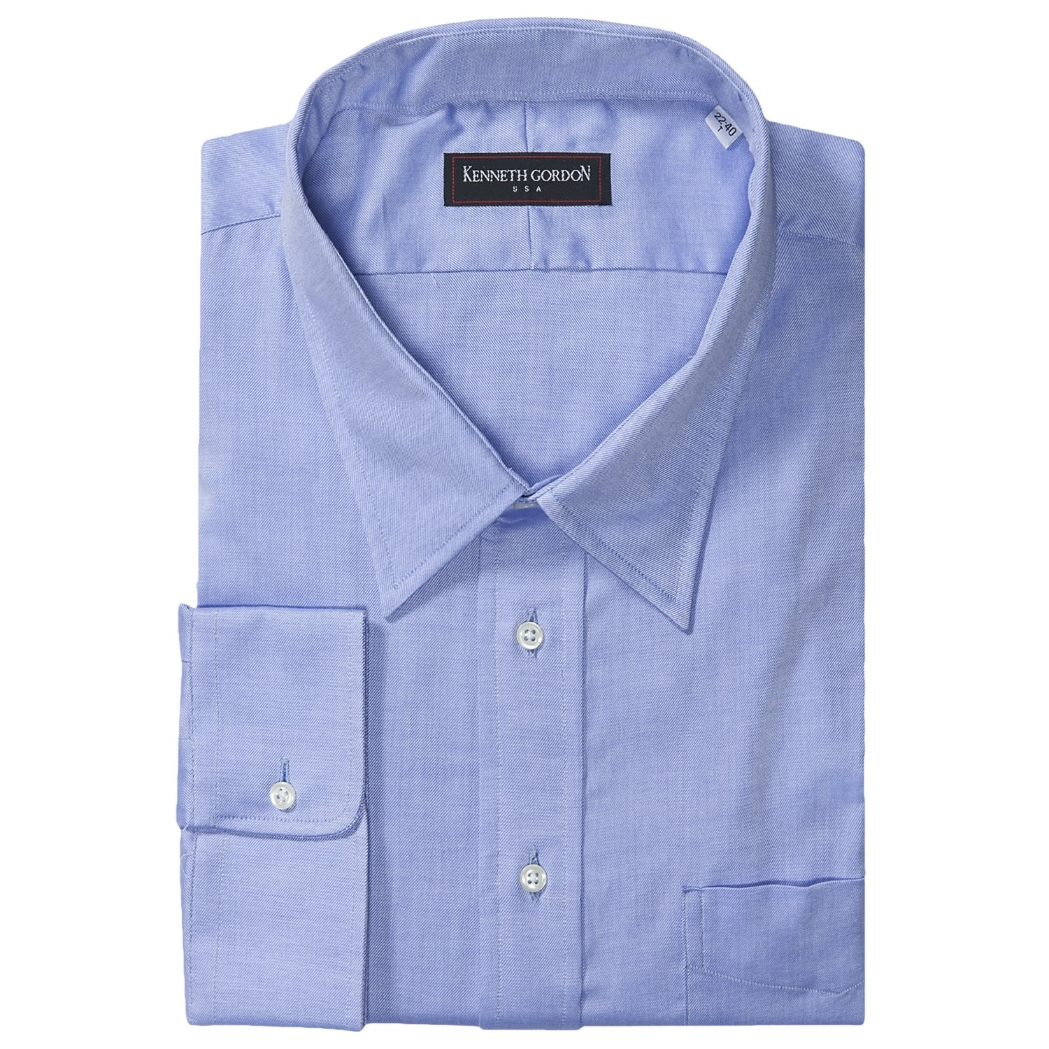 Kenneth gordon twill dress shirt modified spread collar for Men s spread collar shirts