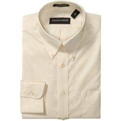 Kenneth Gordon Wrinkle-Free Pinpoint Cotton Dress Shirt - Long Sleeve (For Men) in Ecru