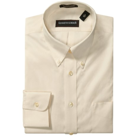 Kenneth Gordon Wrinkle-Free Pinpoint Cotton Dress Shirt - Long Sleeve (For Men) in Blue